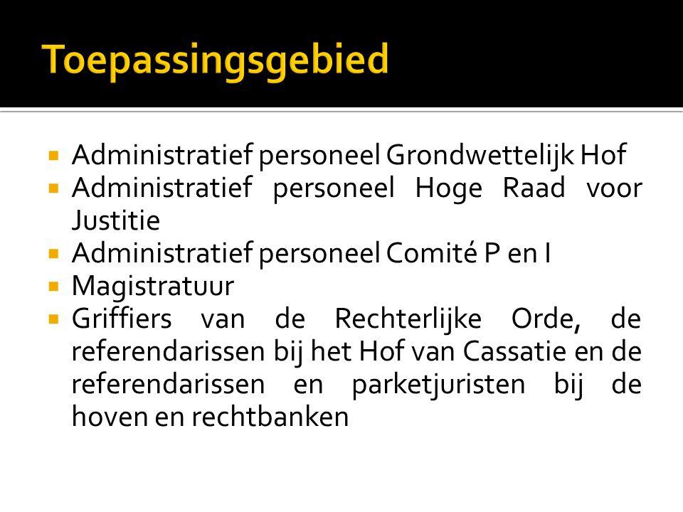 Administratief personeel Grondwettelijk Hof  Administratief personeel Hoge Raad voor Justitie  Administratief personeel Comité P en I  Magistratu