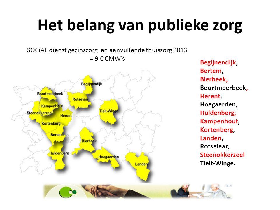 Het belang van publieke zorg SOCiAL dienst gezinszorg en aanvullende thuiszorg 2013 = 9 OCMW's Begijnendijk, Bertem, Bierbeek, Boortmeerbeek, Herent,