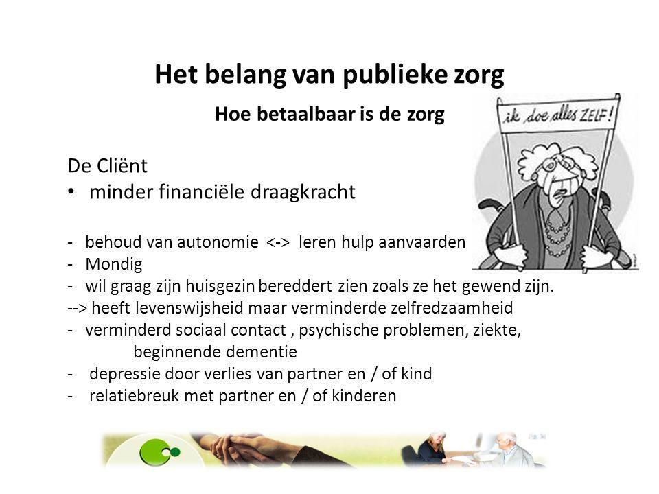 Het belang van publieke zorg Hoe betaalbaar is de zorg De Cliënt minder financiële draagkracht - behoud van autonomie leren hulp aanvaarden - Mondig -