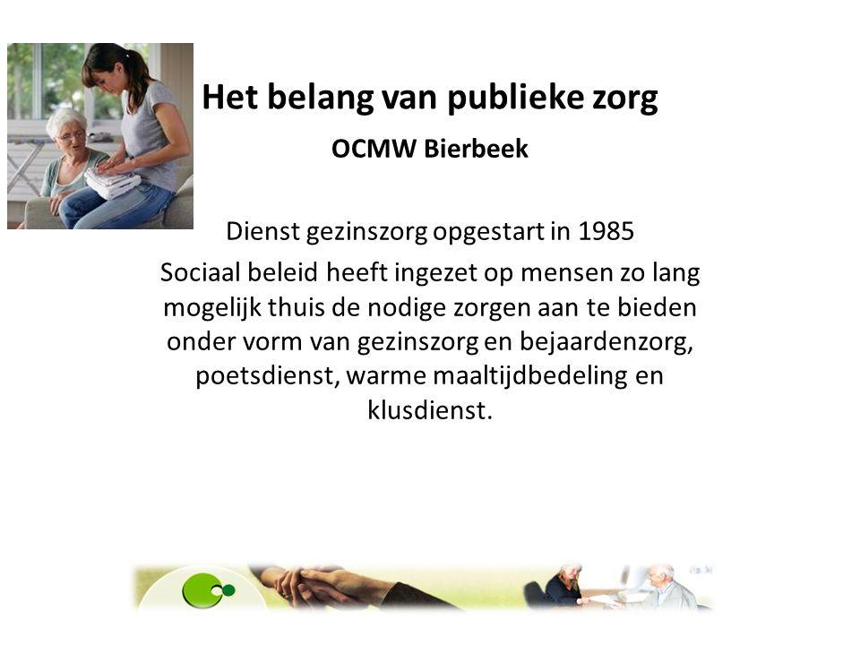 Het belang van publieke zorg OCMW Bierbeek Dienst gezinszorg opgestart in 1985 Sociaal beleid heeft ingezet op mensen zo lang mogelijk thuis de nodige