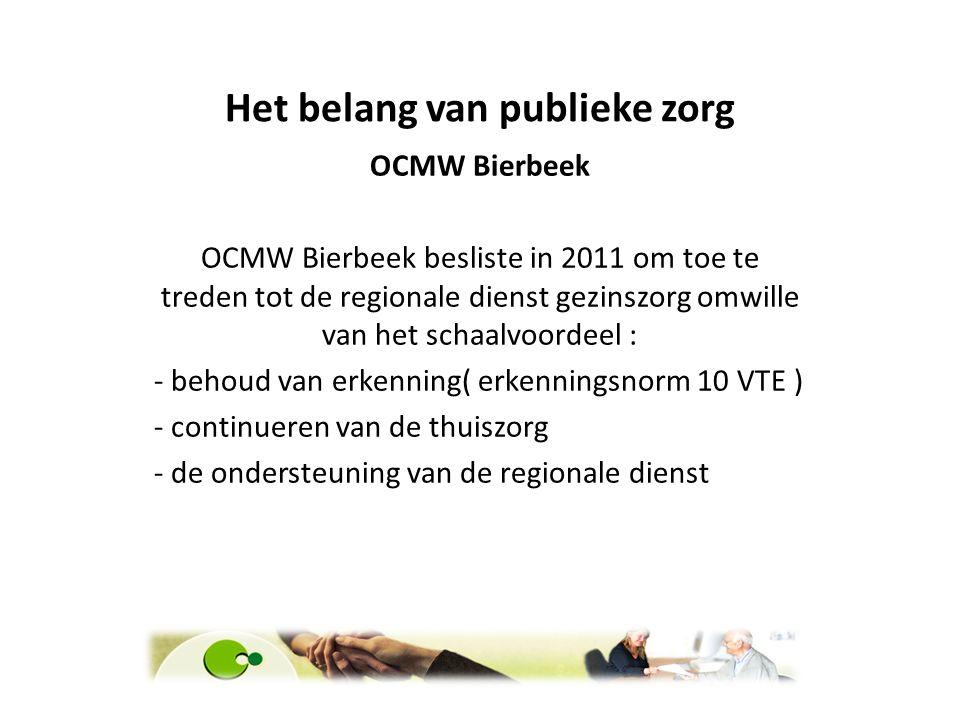 OCMW Bierbeek OCMW Bierbeek besliste in 2011 om toe te treden tot de regionale dienst gezinszorg omwille van het schaalvoordeel : - behoud van erkenni