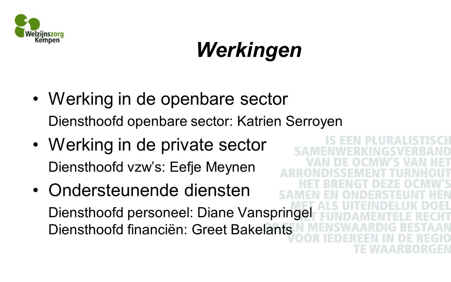 Werkingen Werking in de openbare sector Diensthoofd openbare sector: Katrien Serroyen Werking in de private sector Diensthoofd vzw's: Eefje Meynen Ondersteunende diensten Diensthoofd personeel: Diane Vanspringel Diensthoofd financiën: Greet Bakelants