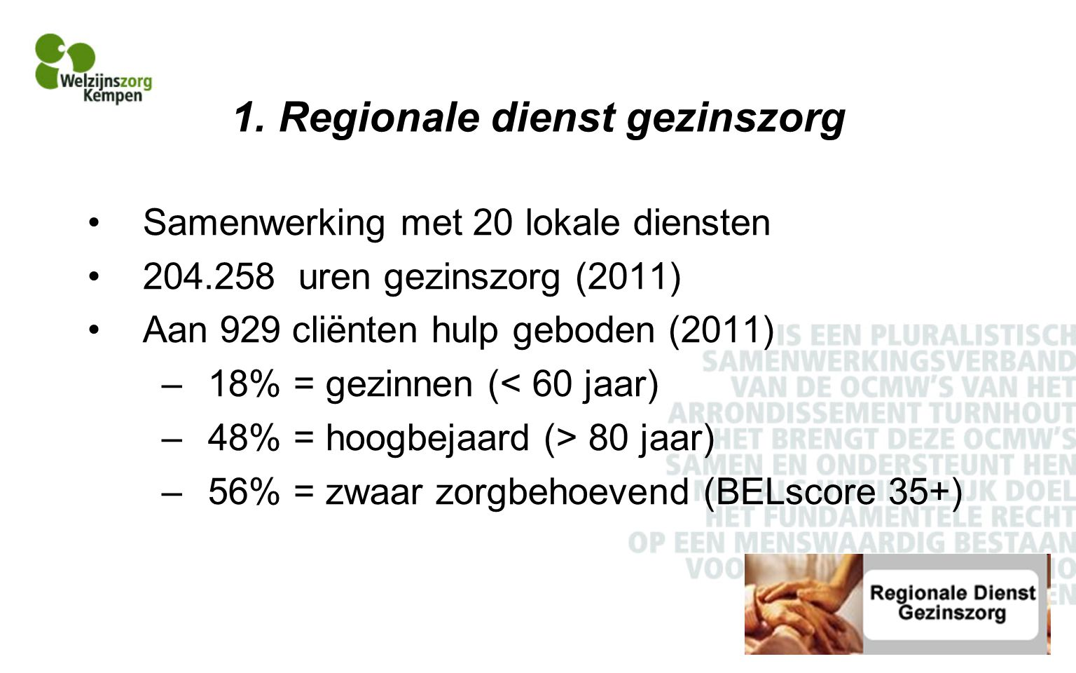 1. Regionale dienst gezinszorg Samenwerking met 20 lokale diensten 204.258 uren gezinszorg (2011) Aan 929 cliënten hulp geboden (2011) –18% = gezinnen