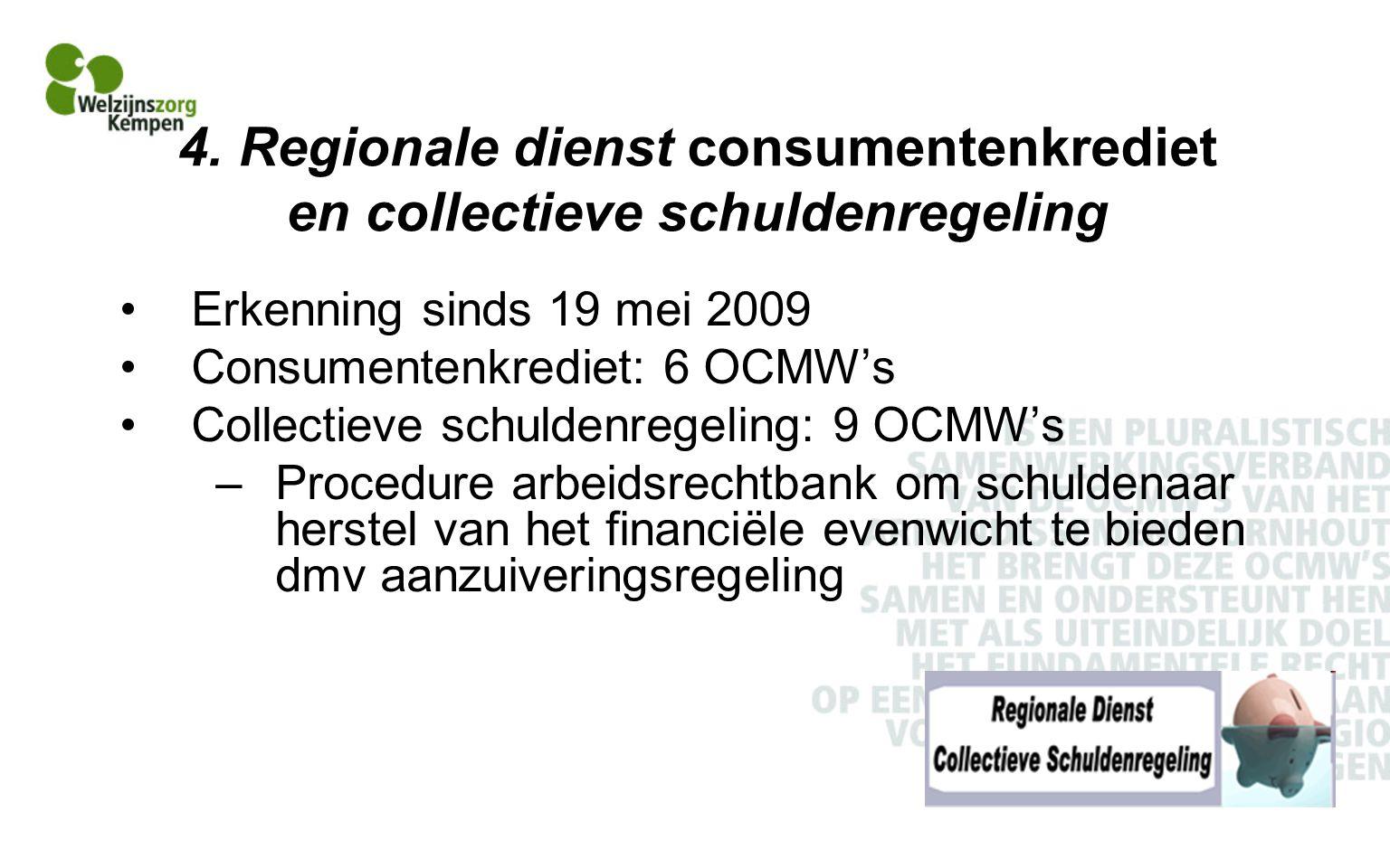 4. Regionale dienst consumentenkrediet en collectieve schuldenregeling Erkenning sinds 19 mei 2009 Consumentenkrediet: 6 OCMW's Collectieve schuldenre