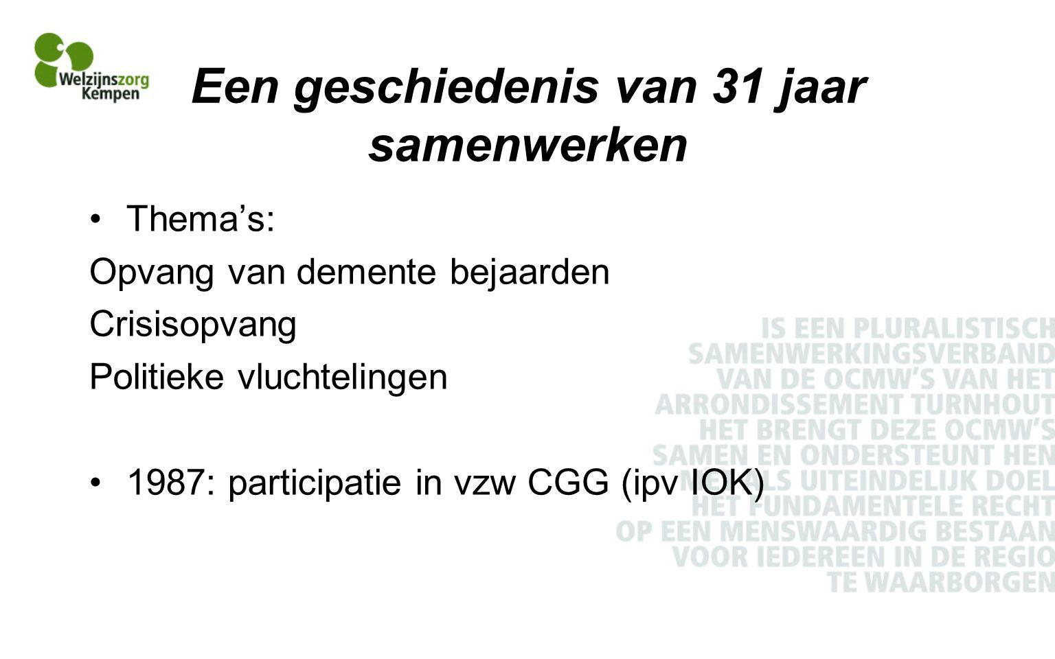 Een geschiedenis van 31 jaar samenwerken Thema's: Opvang van demente bejaarden Crisisopvang Politieke vluchtelingen 1987: participatie in vzw CGG (ipv IOK)