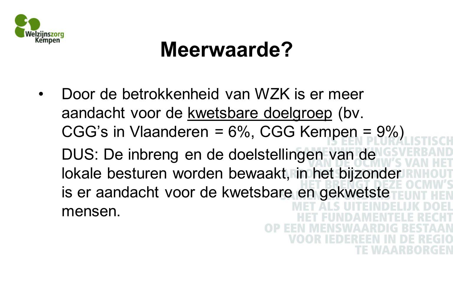 Meerwaarde.Door de betrokkenheid van WZK is er meer aandacht voor de kwetsbare doelgroep (bv.