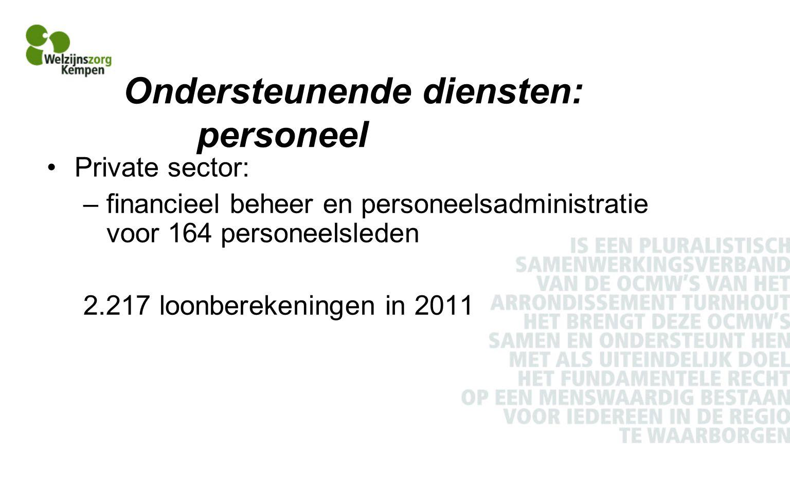 Ondersteunende diensten: personeel Private sector: –financieel beheer en personeelsadministratie voor 164 personeelsleden 2.217 loonberekeningen in 2011