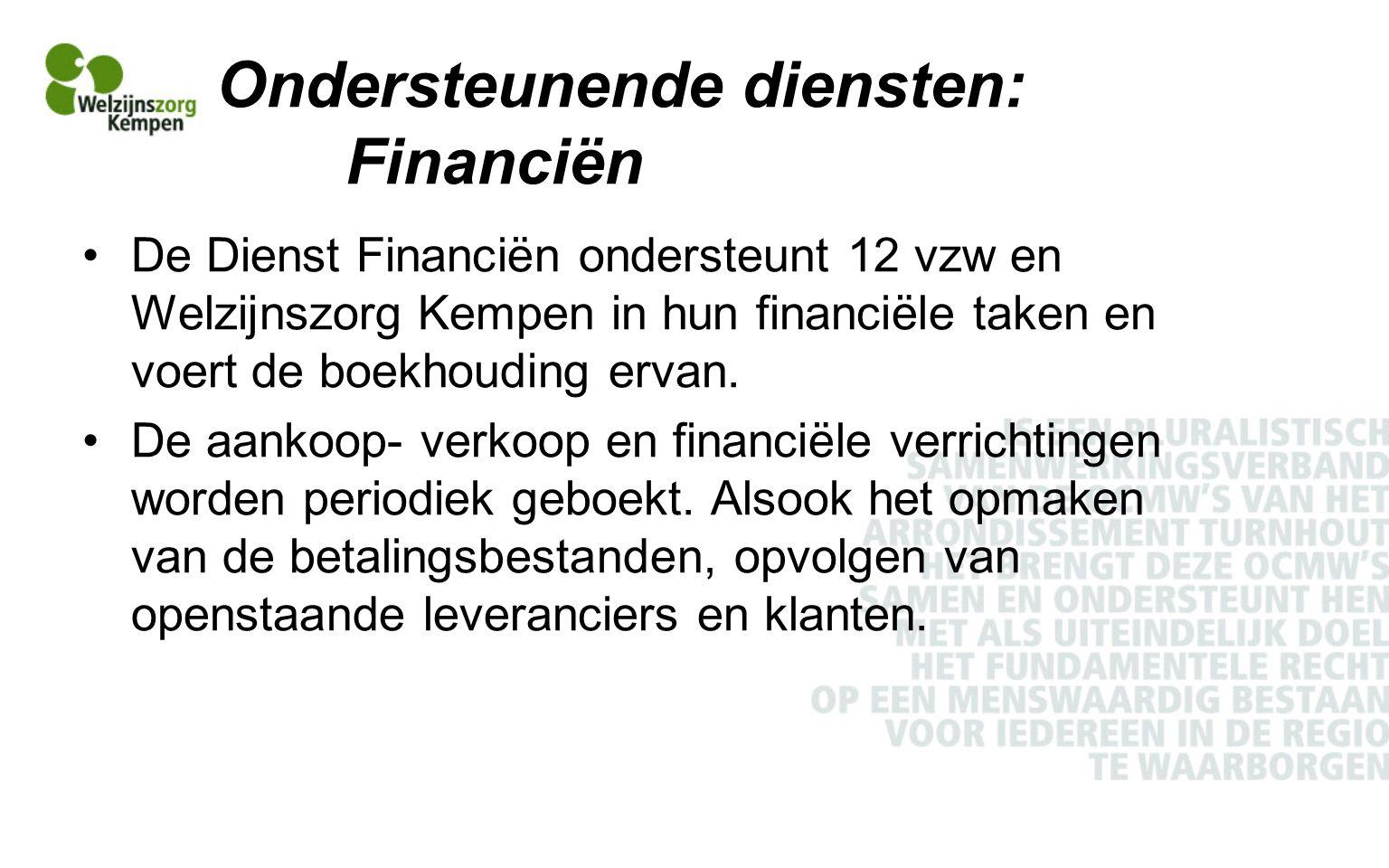 Ondersteunende diensten: Financiën De Dienst Financiën ondersteunt 12 vzw en Welzijnszorg Kempen in hun financiële taken en voert de boekhouding ervan.