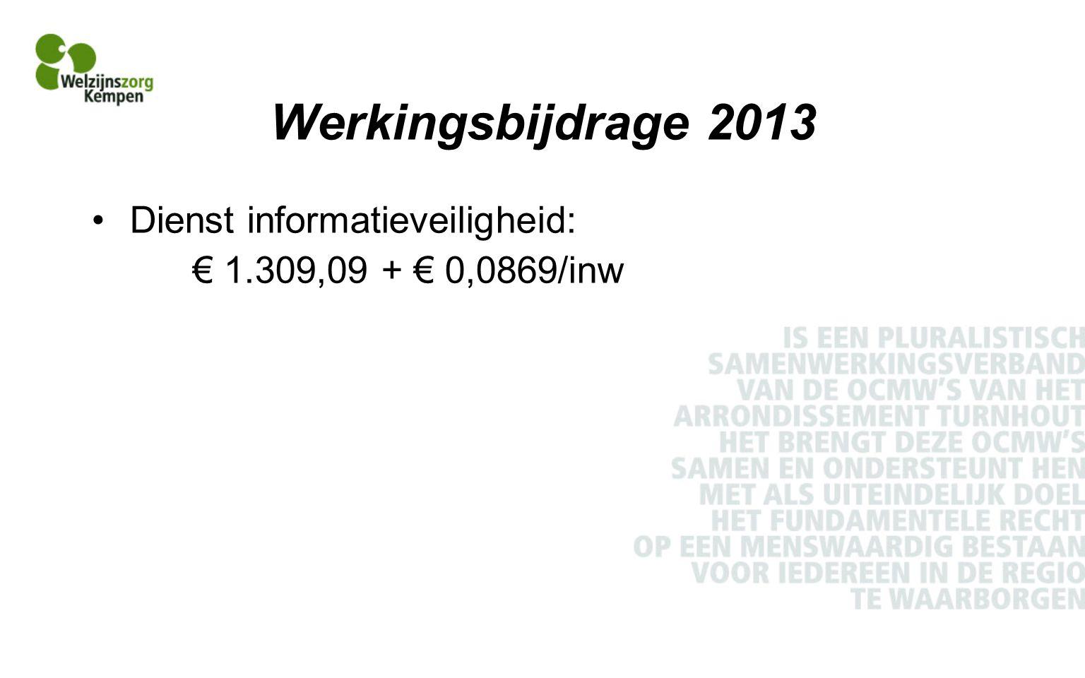 Werkingsbijdrage 2013 Dienst informatieveiligheid: € 1.309,09 + € 0,0869/inw