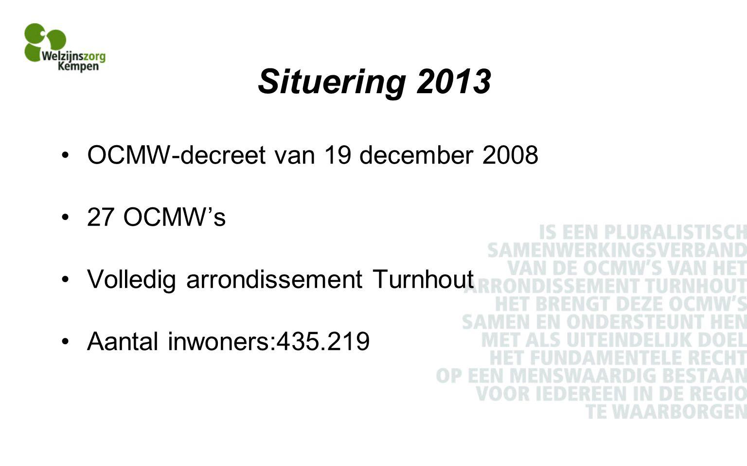 Situering 2013 OCMW-decreet van 19 december 2008 27 OCMW's Volledig arrondissement Turnhout Aantal inwoners:435.219