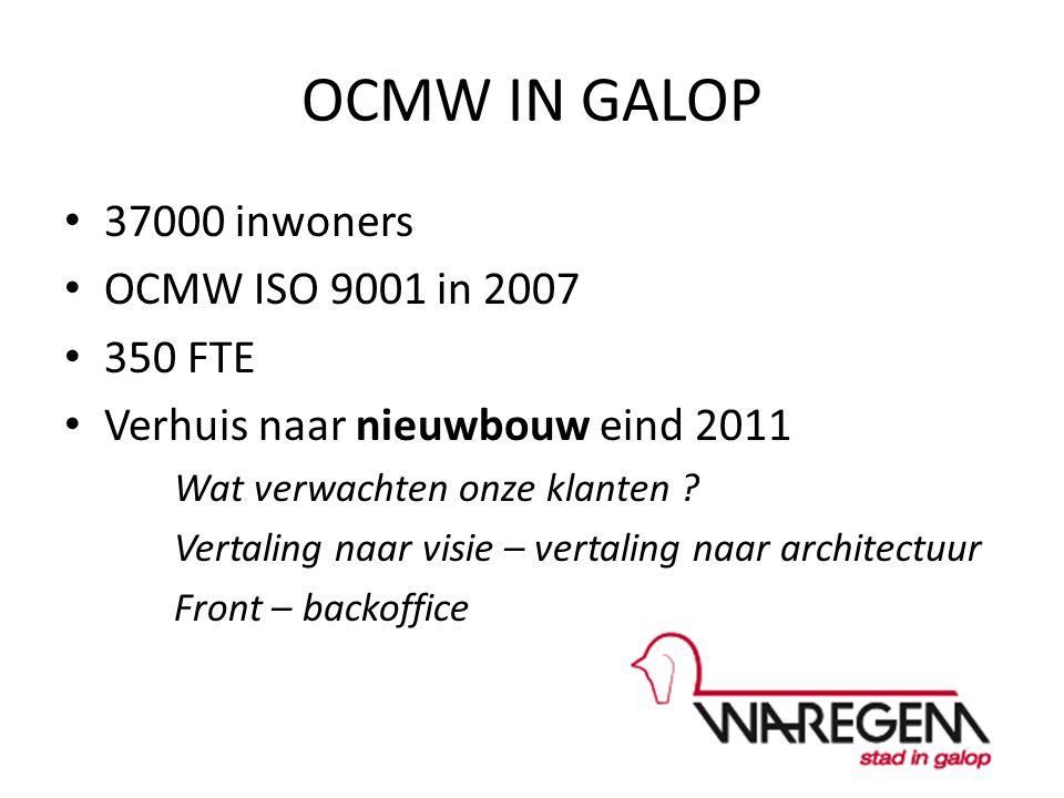 OCMW IN GALOP 37000 inwoners OCMW ISO 9001 in 2007 350 FTE Verhuis naar nieuwbouw eind 2011 Wat verwachten onze klanten .