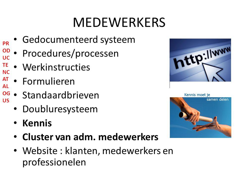 MEDEWERKERS Gedocumenteerd systeem Procedures/processen Werkinstructies Formulieren Standaardbrieven Doubluresysteem Kennis Cluster van adm.
