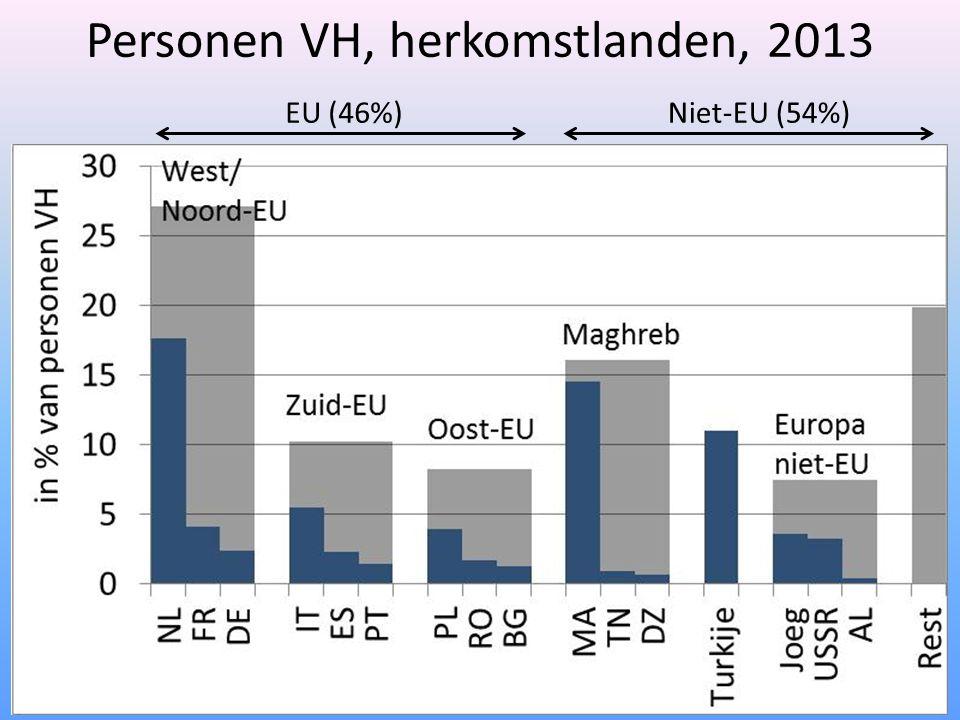 Personen VH, herkomstlanden, 2013 EU (46%)Niet-EU (54%)