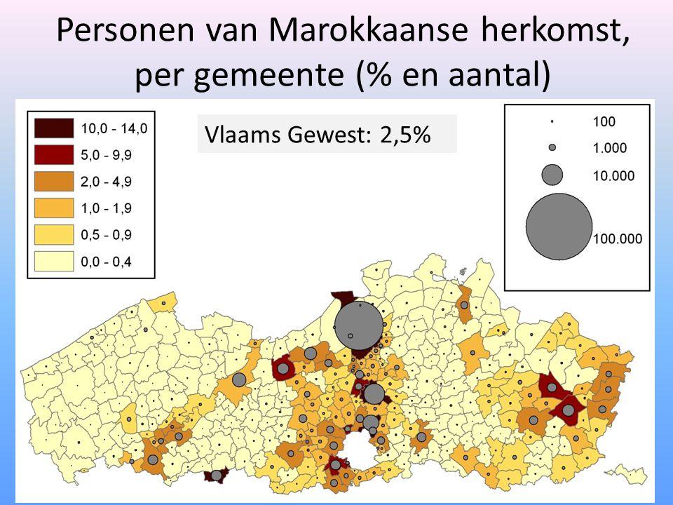 Personen van Marokkaanse herkomst, per gemeente (% en aantal) Vlaams Gewest: 2,5%