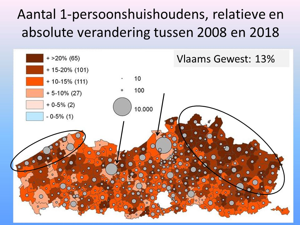 Aantal 1-persoonshuishoudens, relatieve en absolute verandering tussen 2008 en 2018 Vlaams Gewest: 13%