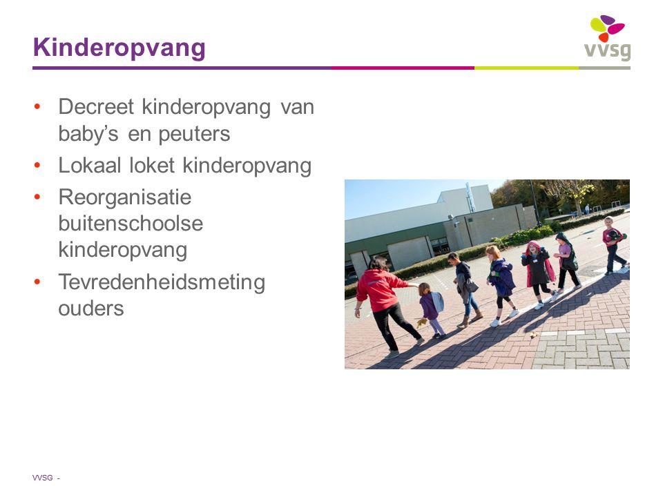 VVSG - Decreet kinderopvang van baby's en peuters Lokaal loket kinderopvang Reorganisatie buitenschoolse kinderopvang Tevredenheidsmeting ouders Kinde