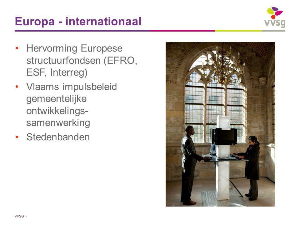 VVSG - Hervorming Europese structuurfondsen (EFRO, ESF, Interreg) Vlaams impulsbeleid gemeentelijke ontwikkelings- samenwerking Stedenbanden Europa - internationaal