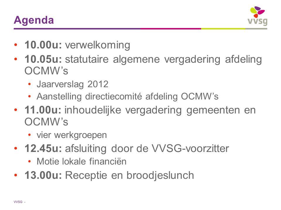 VVSG - Agenda 10.00u: verwelkoming 10.05u: statutaire algemene vergadering afdeling OCMW's Jaarverslag 2012 Aanstelling directiecomité afdeling OCMW's 11.00u: inhoudelijke vergadering gemeenten en OCMW's vier werkgroepen 12.45u: afsluiting door de VVSG-voorzitter Motie lokale financiën 13.00u: Receptie en broodjeslunch