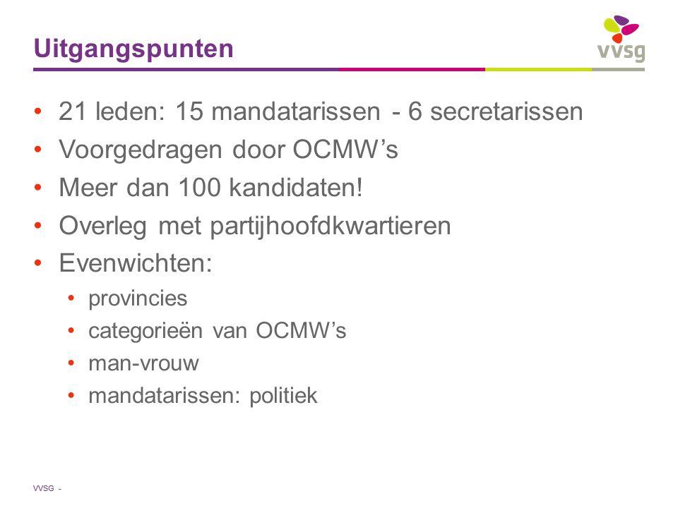 VVSG - Uitgangspunten 21 leden: 15 mandatarissen - 6 secretarissen Voorgedragen door OCMW's Meer dan 100 kandidaten! Overleg met partijhoofdkwartieren