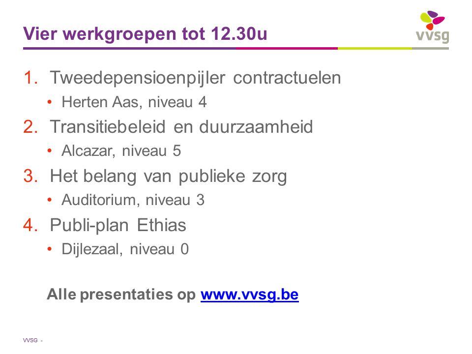 VVSG - Vier werkgroepen tot 12.30u 1.Tweedepensioenpijler contractuelen Herten Aas, niveau 4 2.Transitiebeleid en duurzaamheid Alcazar, niveau 5 3.Het