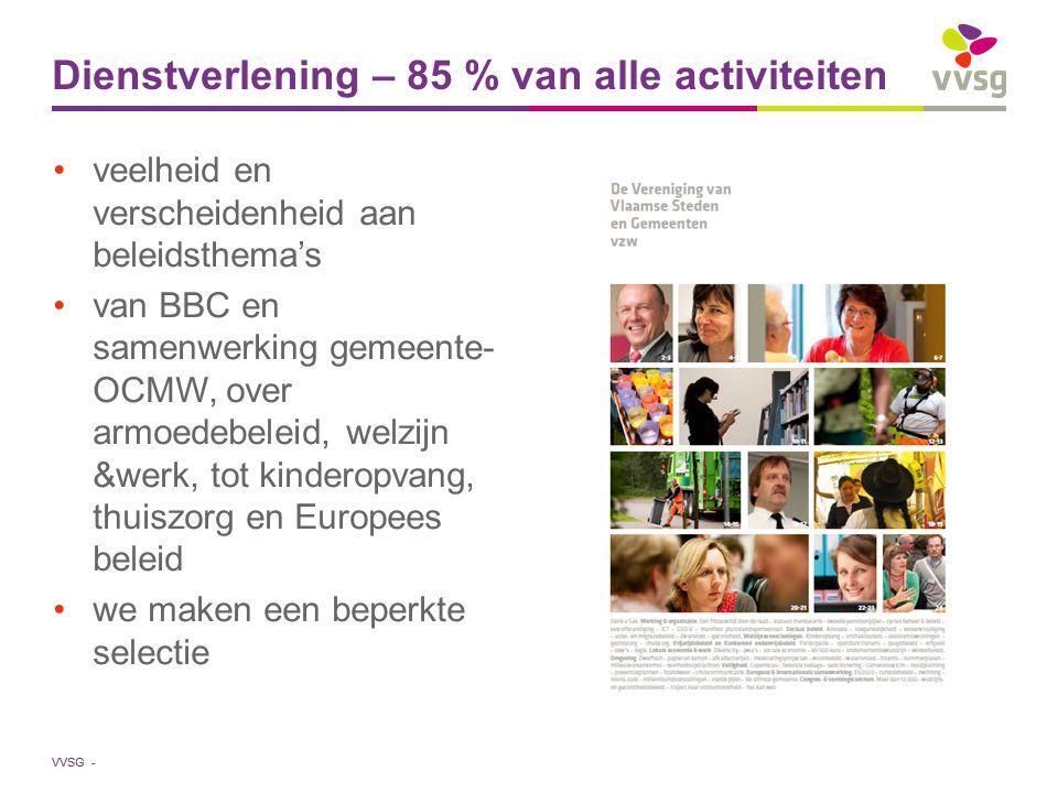 VVSG - veelheid en verscheidenheid aan beleidsthema's van BBC en samenwerking gemeente- OCMW, over armoedebeleid, welzijn &werk, tot kinderopvang, thuiszorg en Europees beleid we maken een beperkte selectie Dienstverlening – 85 % van alle activiteiten
