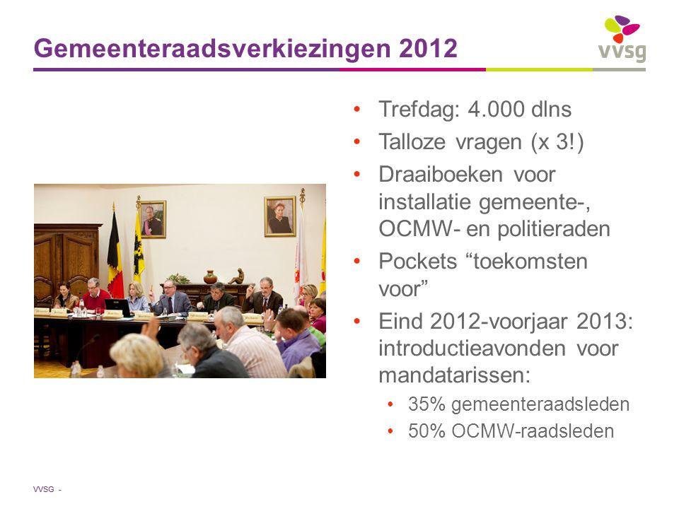 """VVSG - Trefdag: 4.000 dlns Talloze vragen (x 3!) Draaiboeken voor installatie gemeente-, OCMW- en politieraden Pockets """"toekomsten voor"""" Eind 2012-voo"""