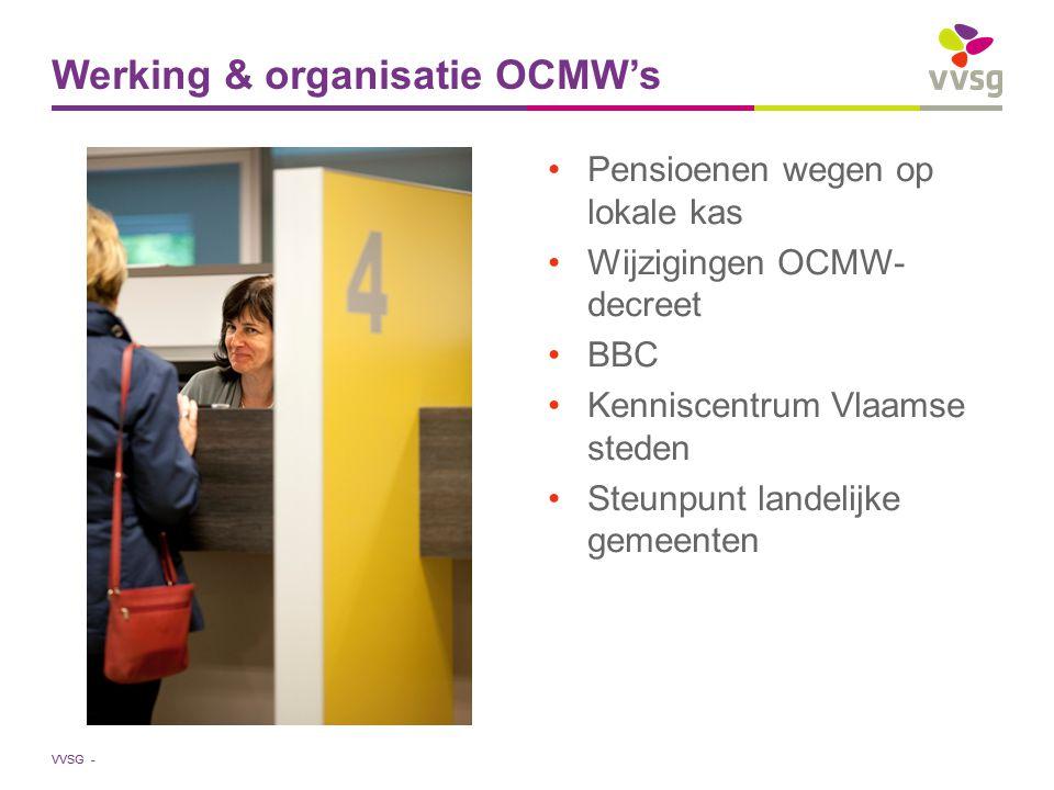 VVSG - Pensioenen wegen op lokale kas Wijzigingen OCMW- decreet BBC Kenniscentrum Vlaamse steden Steunpunt landelijke gemeenten Werking & organisatie OCMW's