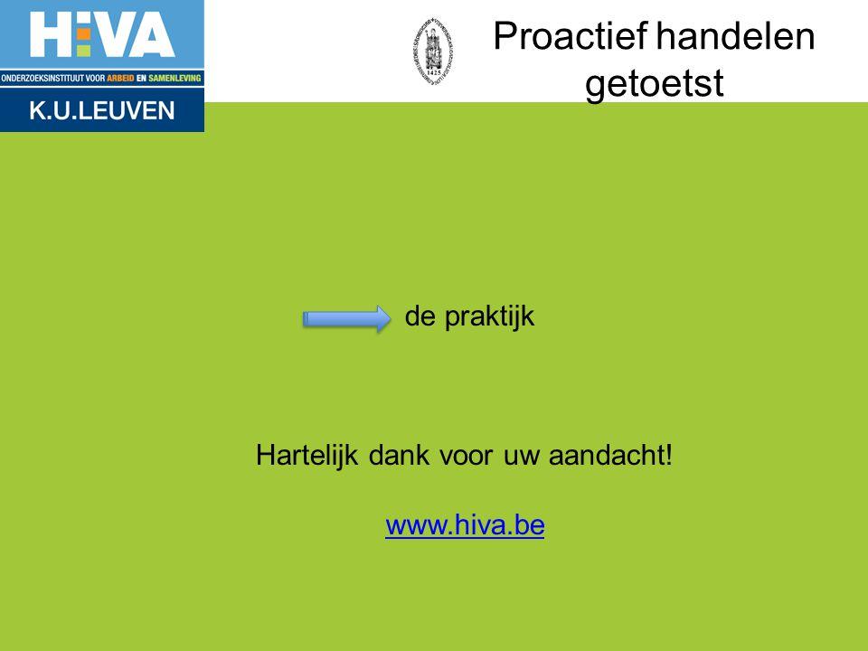 de praktijk Hartelijk dank voor uw aandacht! www.hiva.be www.hiva.be Proactief handelen getoetst