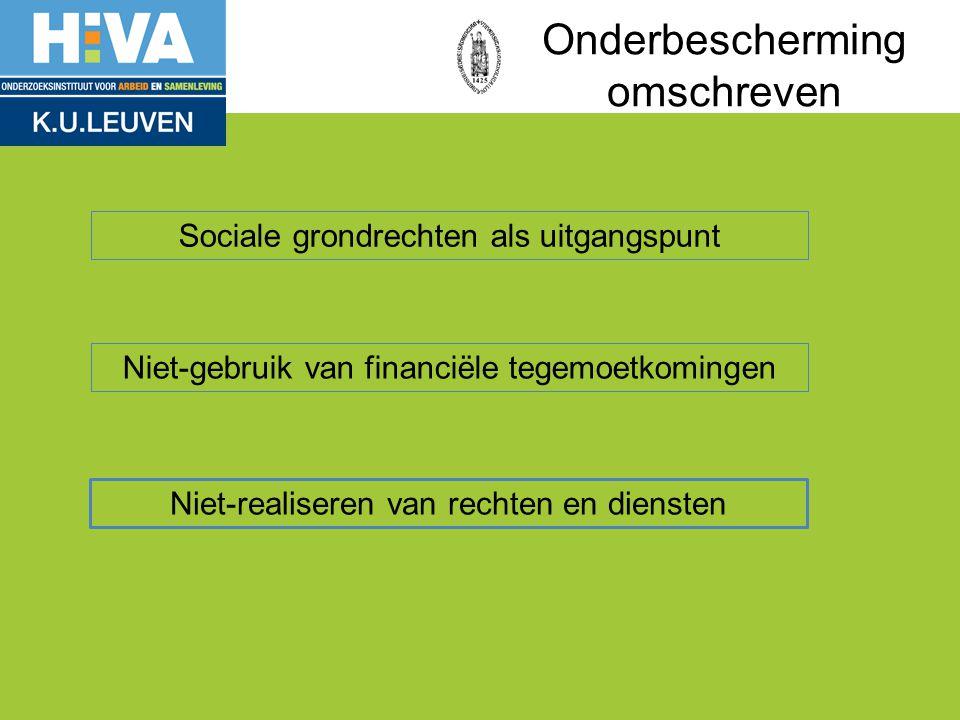 Onderbescherming omschreven Sociale grondrechten als uitgangspunt Niet-gebruik van financiële tegemoetkomingen Niet-realiseren van rechten en diensten