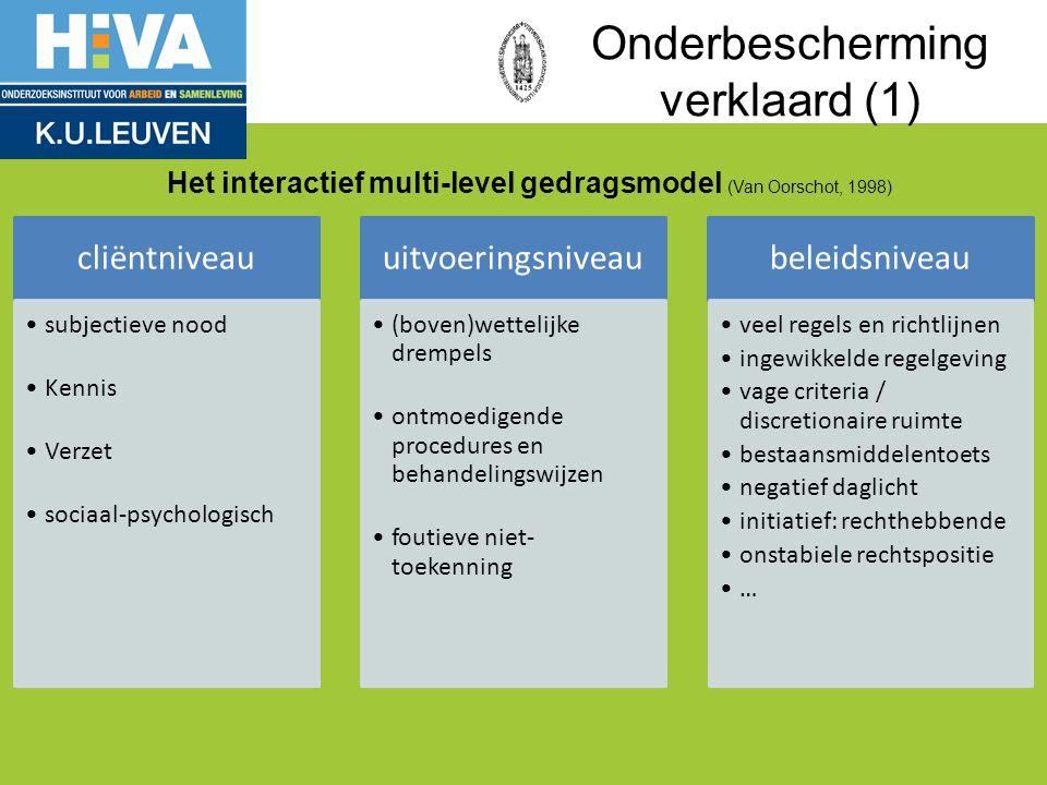Onderbescherming verklaard (1) cliëntniveau subjectieve nood Kennis Verzet sociaal-psychologisch uitvoeringsniveau (boven)wettelijke drempels ontmoedi