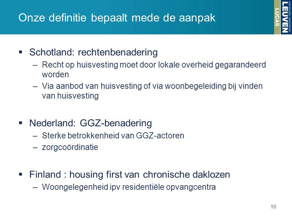  Schotland: rechtenbenadering –Recht op huisvesting moet door lokale overheid gegarandeerd worden –Via aanbod van huisvesting of via woonbegeleiding bij vinden van huisvesting  Nederland: GGZ-benadering –Sterke betrokkenheid van GGZ-actoren –zorgcoördinatie  Finland : housing first van chronische daklozen –Woongelegenheid ipv residentiële opvangcentra Onze definitie bepaalt mede de aanpak 10