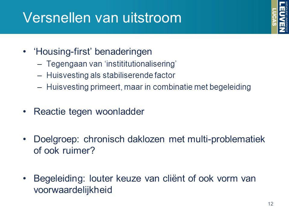 Versnellen van uitstroom 'Housing-first' benaderingen –Tegengaan van 'instititutionalisering' –Huisvesting als stabiliserende factor –Huisvesting prim