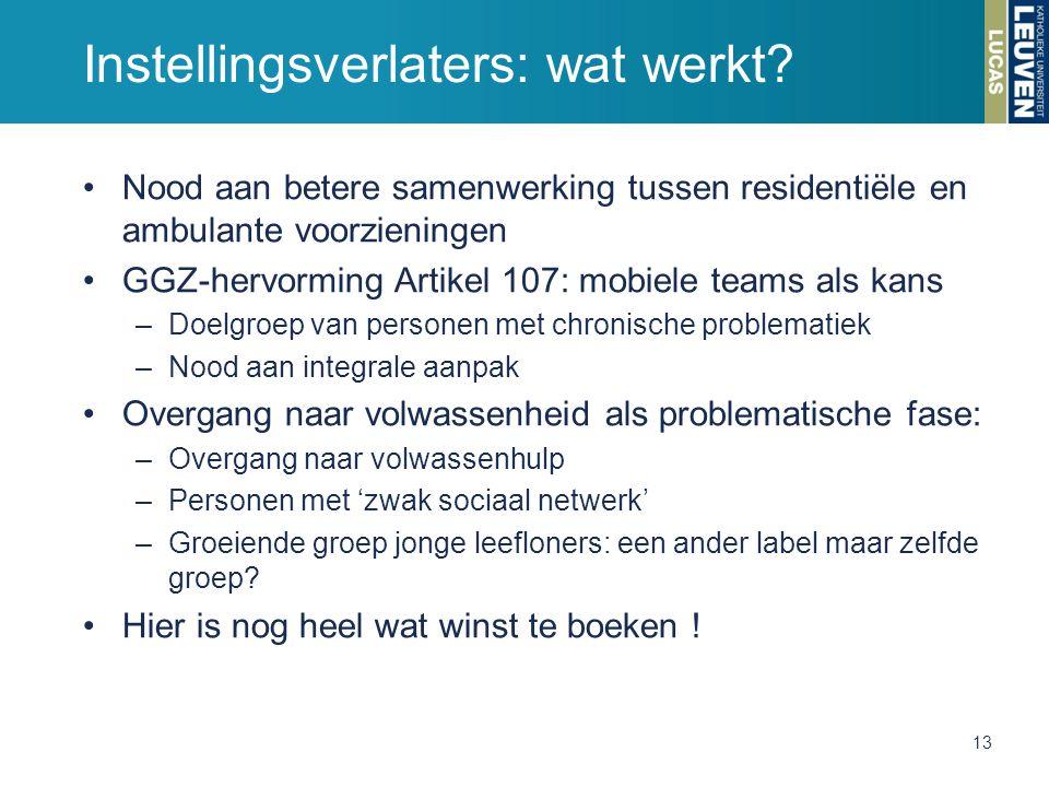 Instellingsverlaters: wat werkt? Nood aan betere samenwerking tussen residentiële en ambulante voorzieningen GGZ-hervorming Artikel 107: mobiele teams