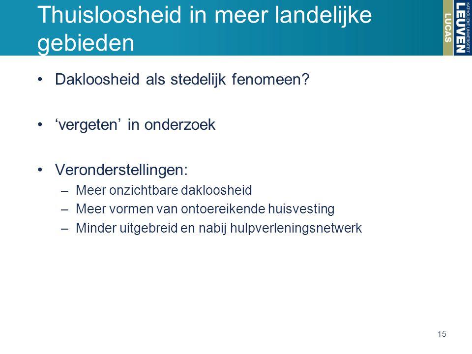 Thuisloosheid in meer landelijke gebieden Dakloosheid als stedelijk fenomeen.