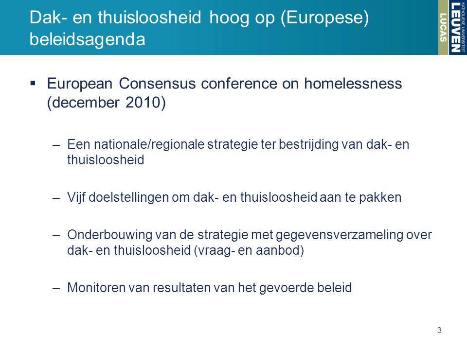  European Consensus conference on homelessness (december 2010) –Een nationale/regionale strategie ter bestrijding van dak- en thuisloosheid –Vijf doelstellingen om dak- en thuisloosheid aan te pakken –Onderbouwing van de strategie met gegevensverzameling over dak- en thuisloosheid (vraag- en aanbod) –Monitoren van resultaten van het gevoerde beleid Dak- en thuisloosheid hoog op (Europese) beleidsagenda 3