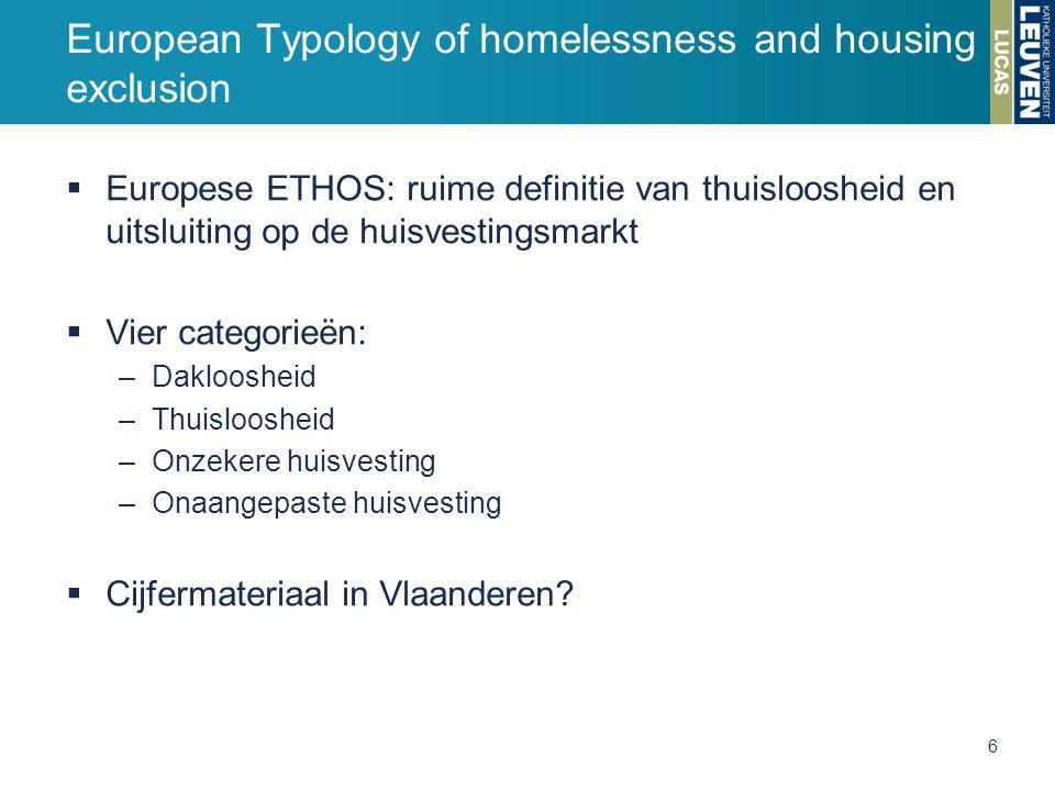  Europese ETHOS: ruime definitie van thuisloosheid en uitsluiting op de huisvestingsmarkt  Vier categorieën: –Dakloosheid –Thuisloosheid –Onzekere huisvesting –Onaangepaste huisvesting  Cijfermateriaal in Vlaanderen.