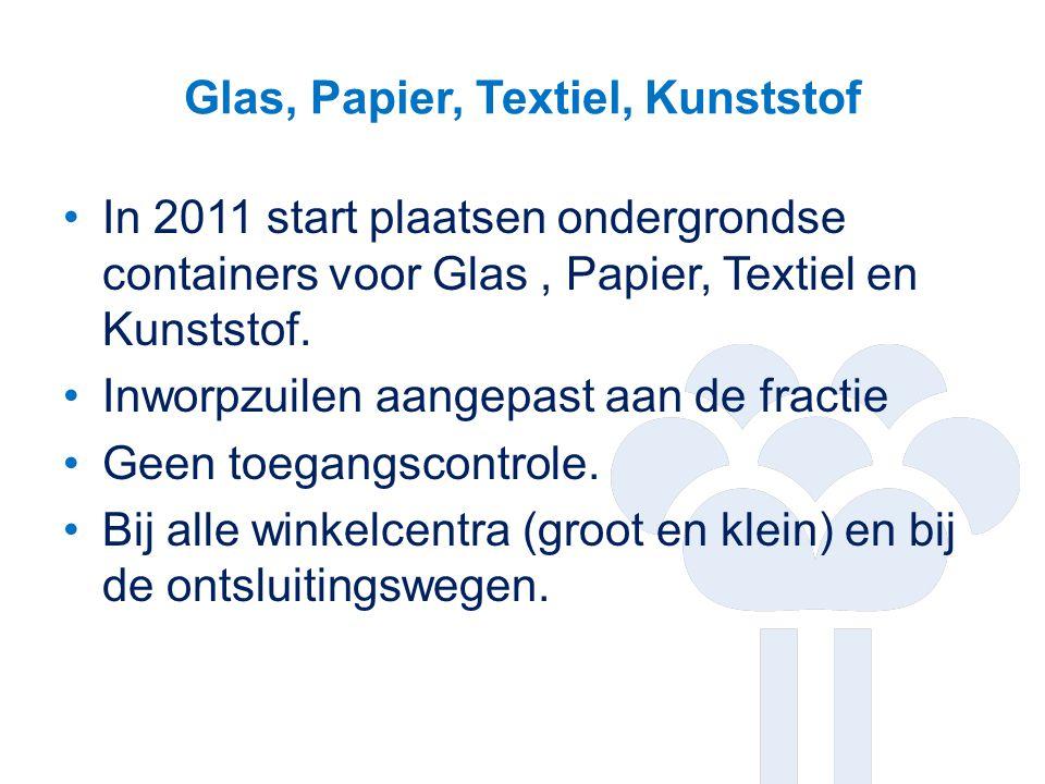 Glas, Papier, Textiel, Kunststof In 2011 start plaatsen ondergrondse containers voor Glas, Papier, Textiel en Kunststof. Inworpzuilen aangepast aan de