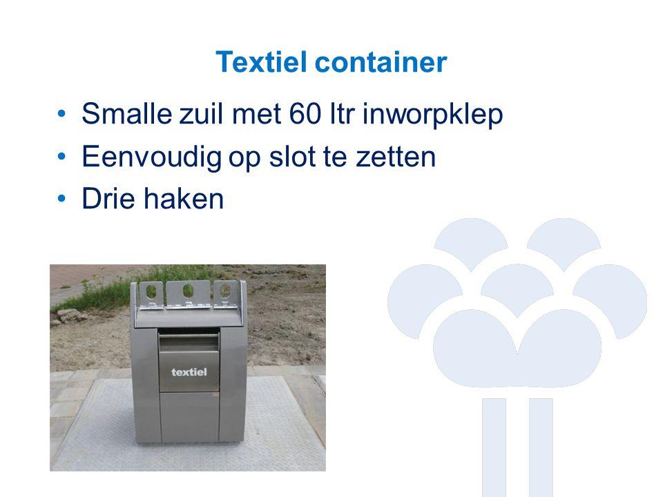Textiel container Smalle zuil met 60 ltr inworpklep Eenvoudig op slot te zetten Drie haken