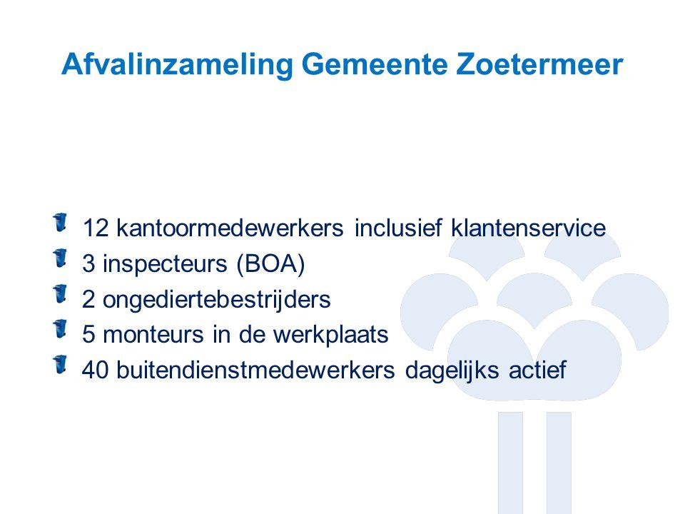 Afvalinzameling Gemeente Zoetermeer 12 kantoormedewerkers inclusief klantenservice 3 inspecteurs (BOA) 2 ongediertebestrijders 5 monteurs in de werkpl