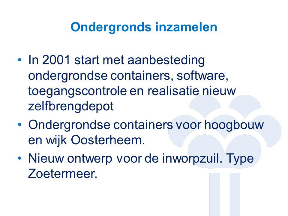 Ondergronds inzamelen In 2001 start met aanbesteding ondergrondse containers, software, toegangscontrole en realisatie nieuw zelfbrengdepot Ondergrond
