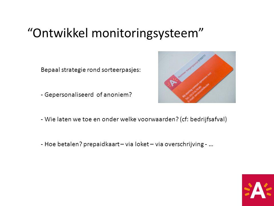 """""""Ontwikkel monitoringsysteem"""" Bepaal strategie rond sorteerpasjes: - Gepersonaliseerd of anoniem? - Wie laten we toe en onder welke voorwaarden? (cf:"""