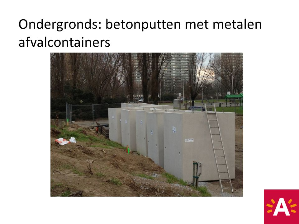 Bovengronds: vloerplaat met inwerpzuil voor diverse afvalfracties