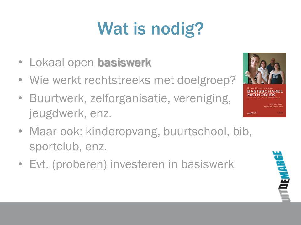 Wat is nodig. basiswerk Lokaal open basiswerk Wie werkt rechtstreeks met doelgroep.