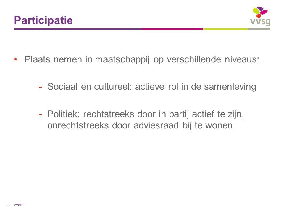 VVSG - Participatie Plaats nemen in maatschappij op verschillende niveaus: -Sociaal en cultureel: actieve rol in de samenleving -Politiek: rechtstreek
