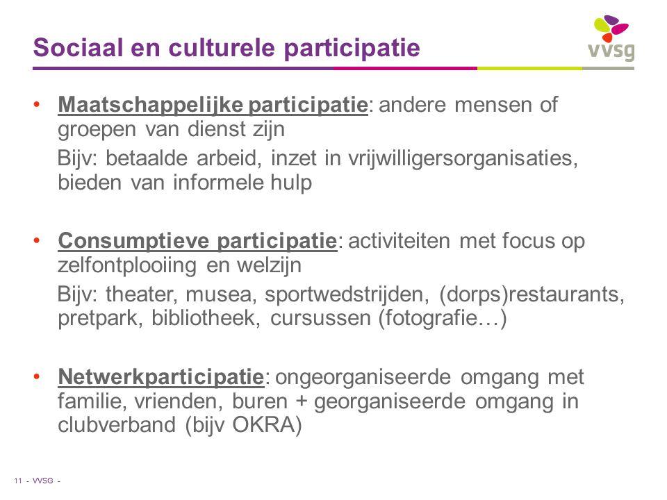 VVSG - Sociaal en culturele participatie Maatschappelijke participatie: andere mensen of groepen van dienst zijn Bijv: betaalde arbeid, inzet in vrijw