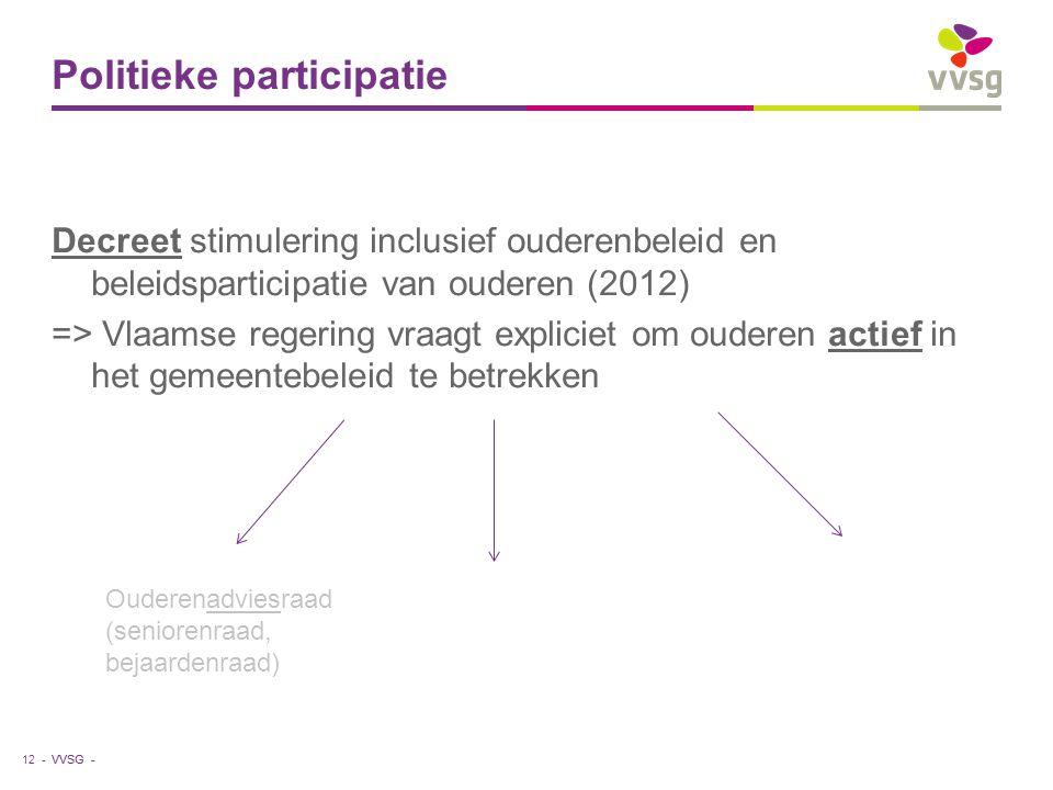 VVSG - Politieke participatie Decreet stimulering inclusief ouderenbeleid en beleidsparticipatie van ouderen (2012) => Vlaamse regering vraagt explici