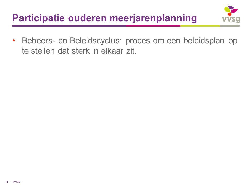 VVSG - Participatie ouderen meerjarenplanning Beheers- en Beleidscyclus: proces om een beleidsplan op te stellen dat sterk in elkaar zit. 18 -