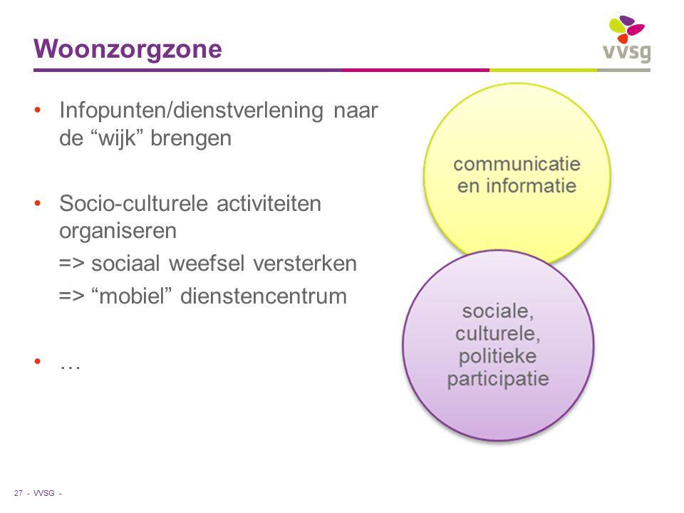 """VVSG - Woonzorgzone 27 - Infopunten/dienstverlening naar de """"wijk"""" brengen Socio-culturele activiteiten organiseren => sociaal weefsel versterken => """""""