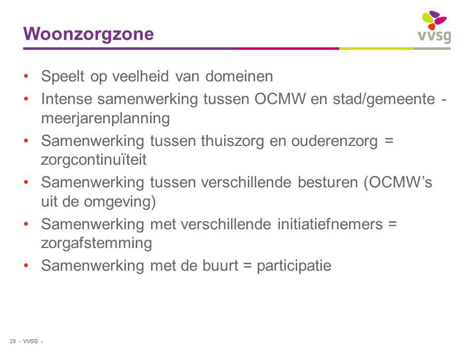 VVSG - Woonzorgzone Speelt op veelheid van domeinen Intense samenwerking tussen OCMW en stad/gemeente - meerjarenplanning Samenwerking tussen thuiszor