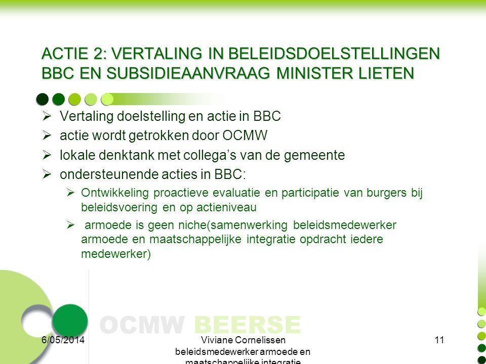 OCMW BEERSE ACTIE 2: VERTALING IN BELEIDSDOELSTELLINGEN BBC EN SUBSIDIEAANVRAAG MINISTER LIETEN  Vertaling doelstelling en actie in BBC  actie wordt